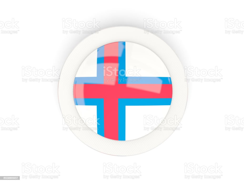 Round flag of faroe islands with carbon frame stock photo