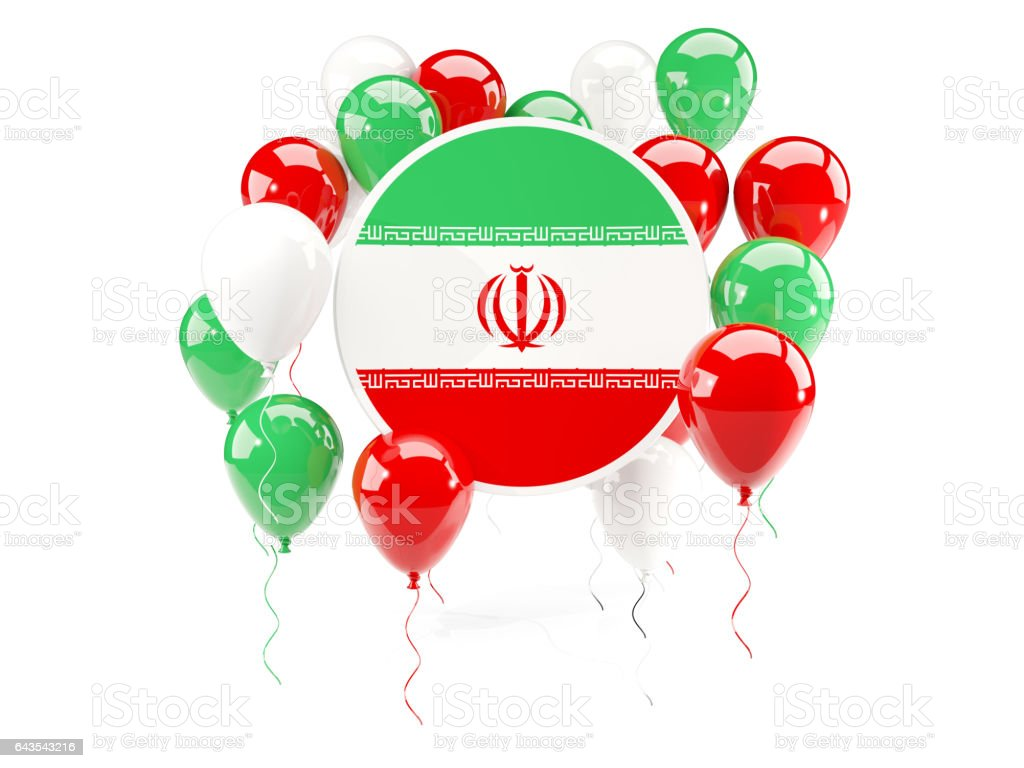 Round flag of iran with balloons vector art illustration