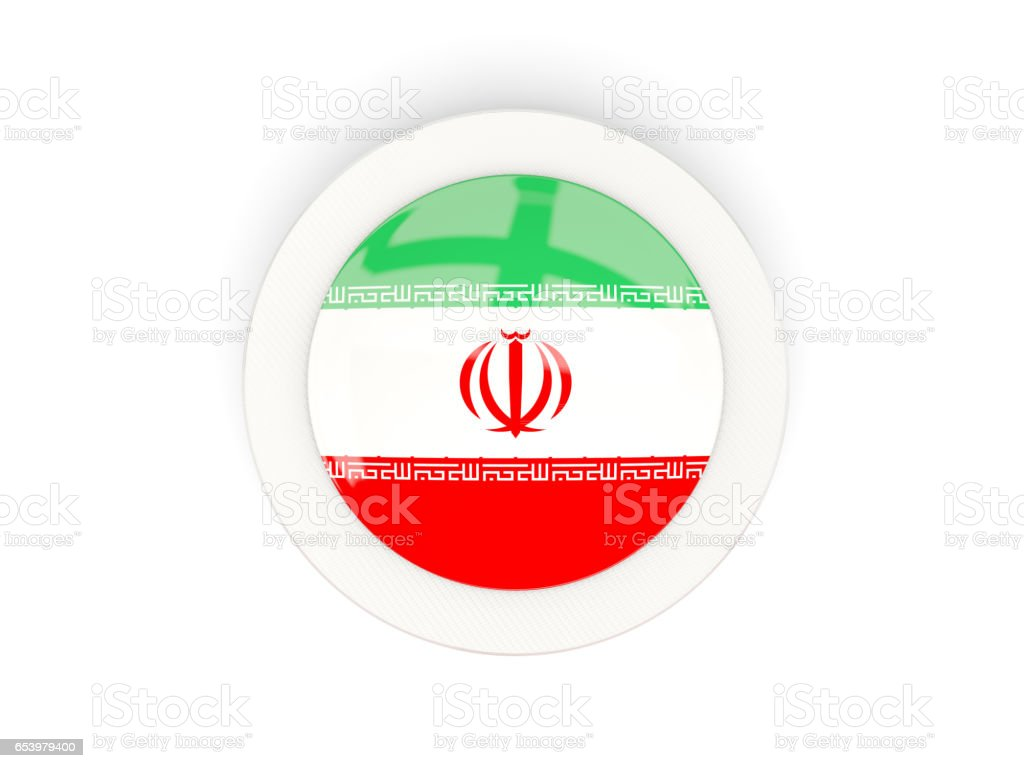 Round flag of iran with carbon frame vector art illustration