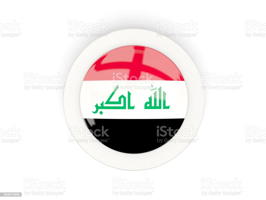 Round flag of iraq with carbon frame stock photo