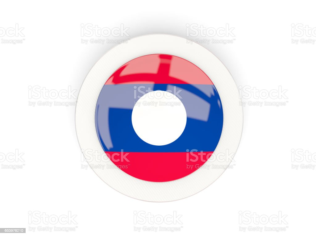 Round flag of laos with carbon frame stock photo
