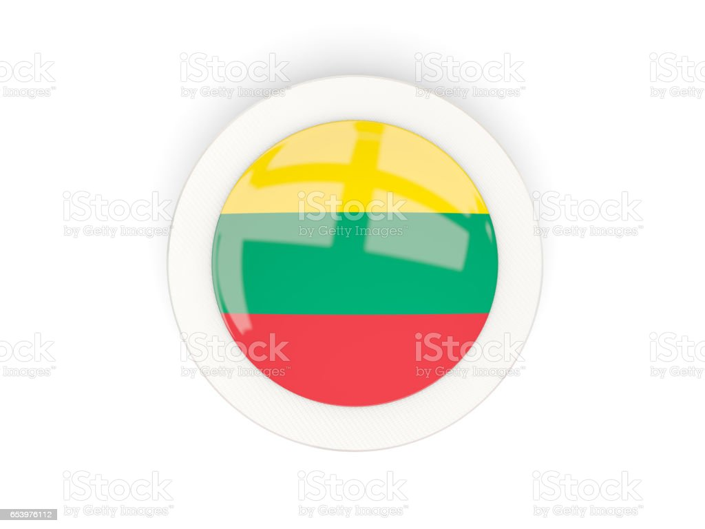 Round flag of lithuania with carbon frame stock photo