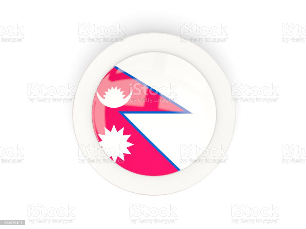 Round flag of nepal with carbon frame stock photo