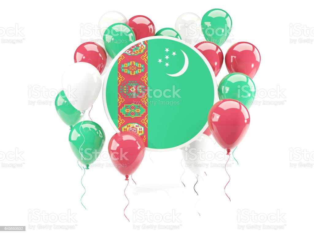 Round flag of turkmenistan with balloons stock photo