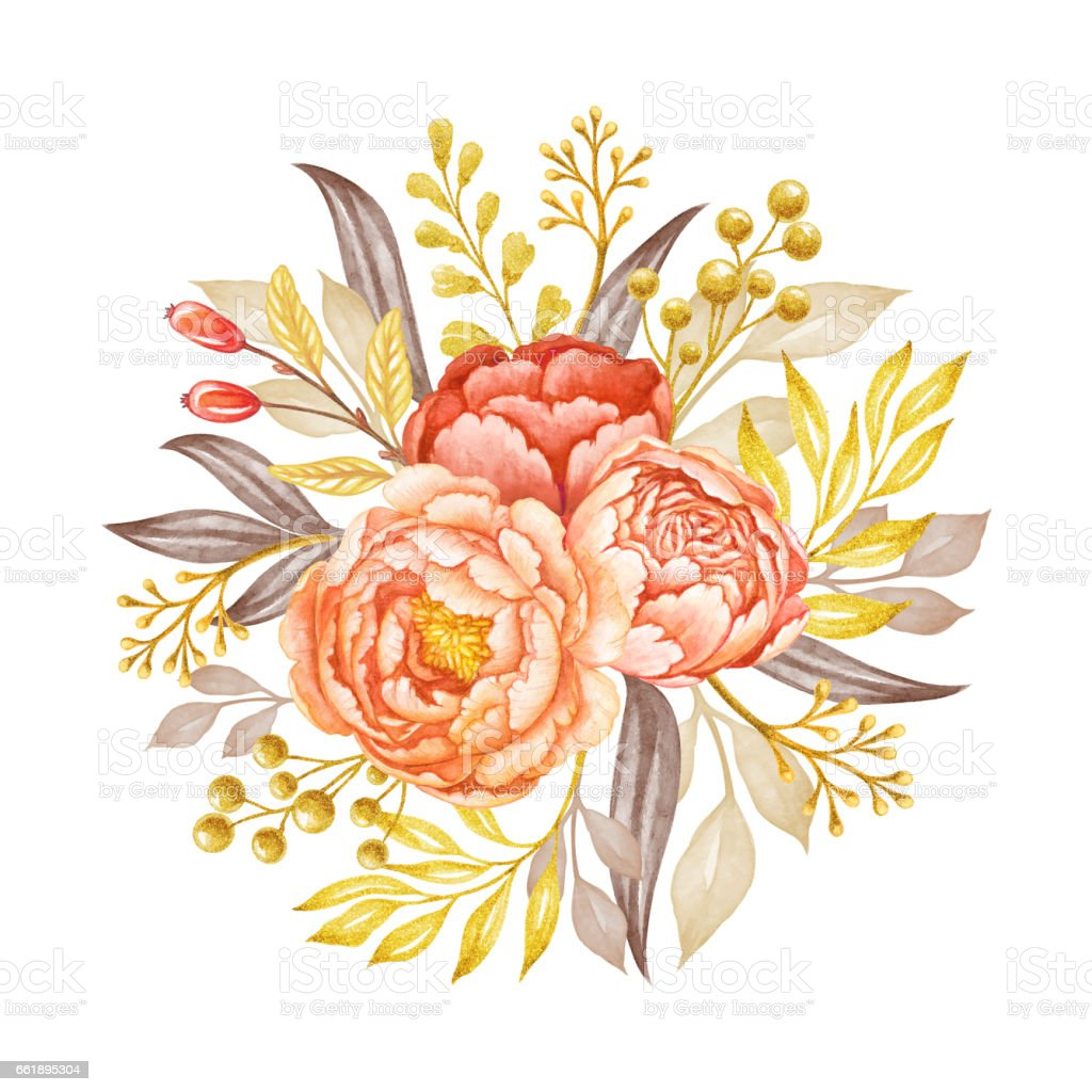 Round Floral Bouquet Coral And Peach Peony Flowers And