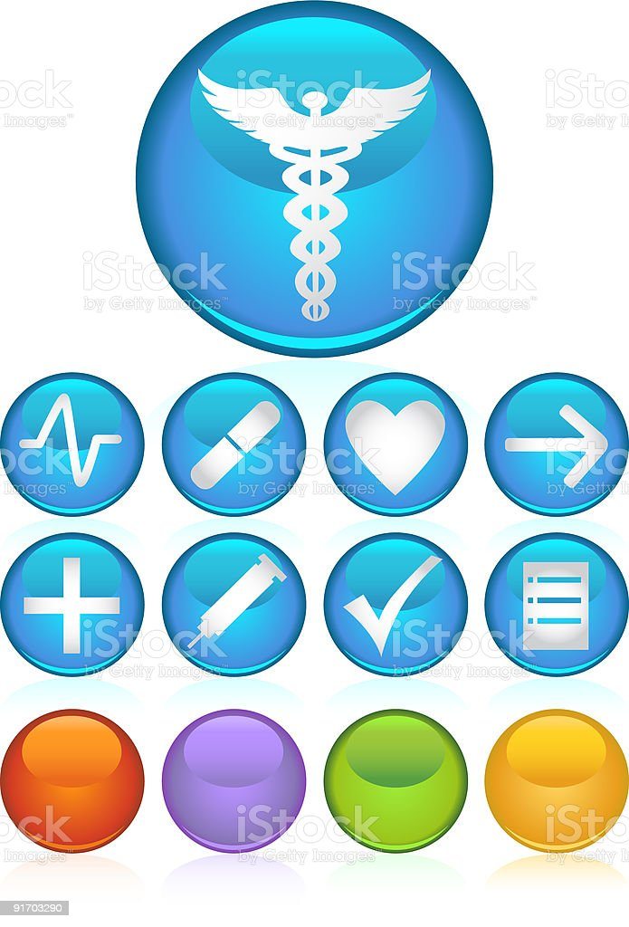 Round Glossy Medical Buttons royalty-free stock vector art