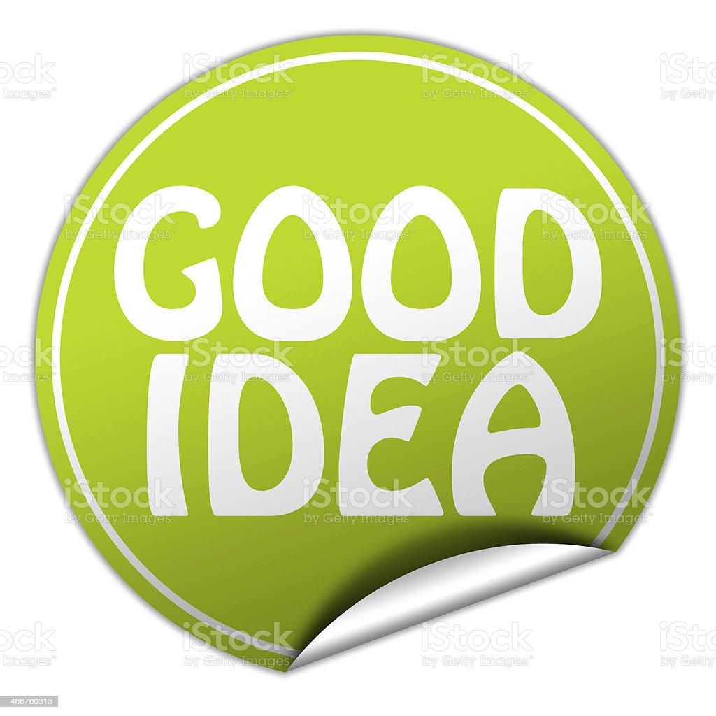 GOOD IDEA round green sticker on white background royalty-free stock vector art