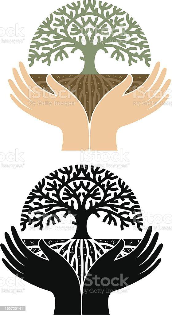 Round hand tree vector art illustration