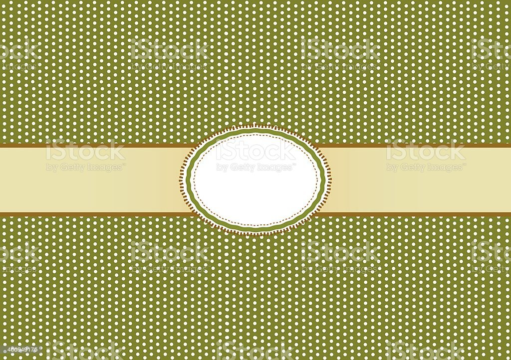 Round Label Pattern with A Olive Green Background royalty-free stock vector art