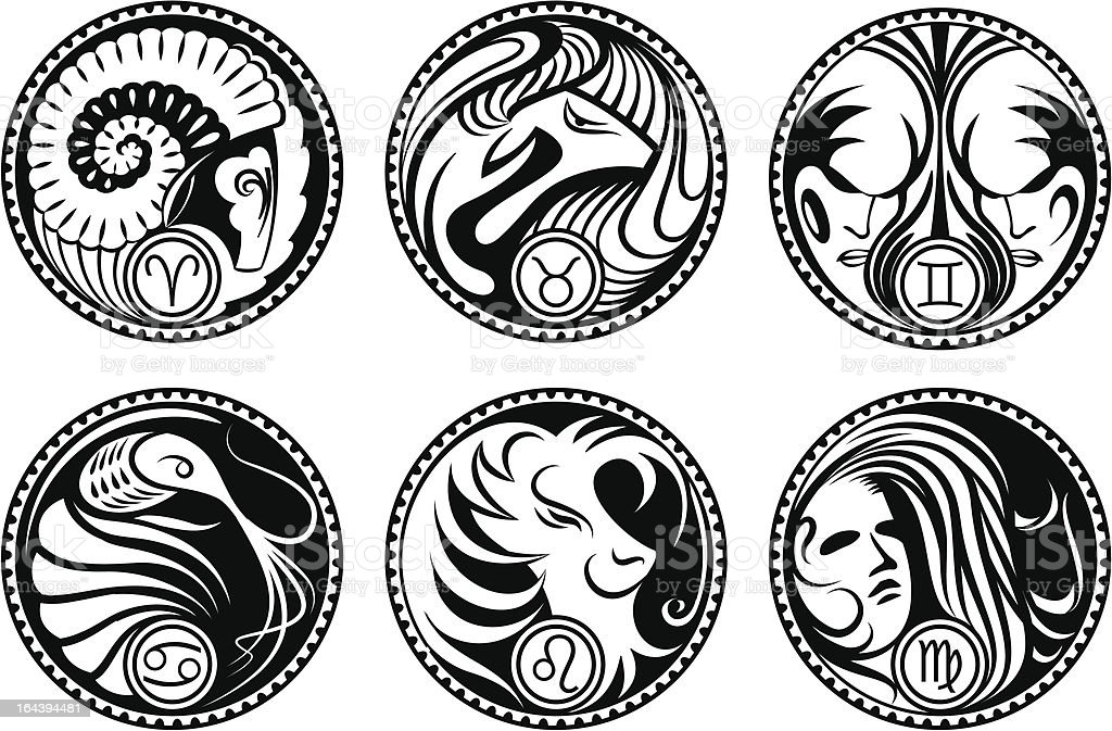 Rounded zodiac icons royalty-free stock vector art
