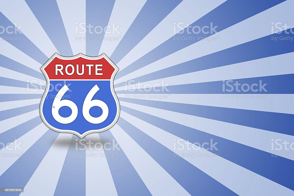 Route 66 glossy Road Sign. vector art illustration