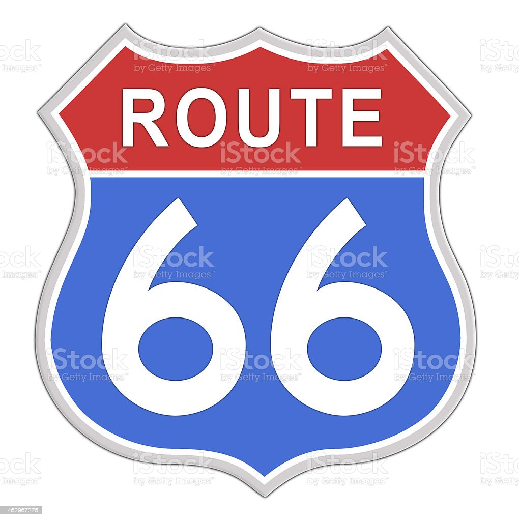 Route 66 Road Sign. vector art illustration