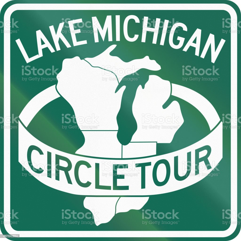 Route marker for the Lake Michigan Circle Tour vector art illustration
