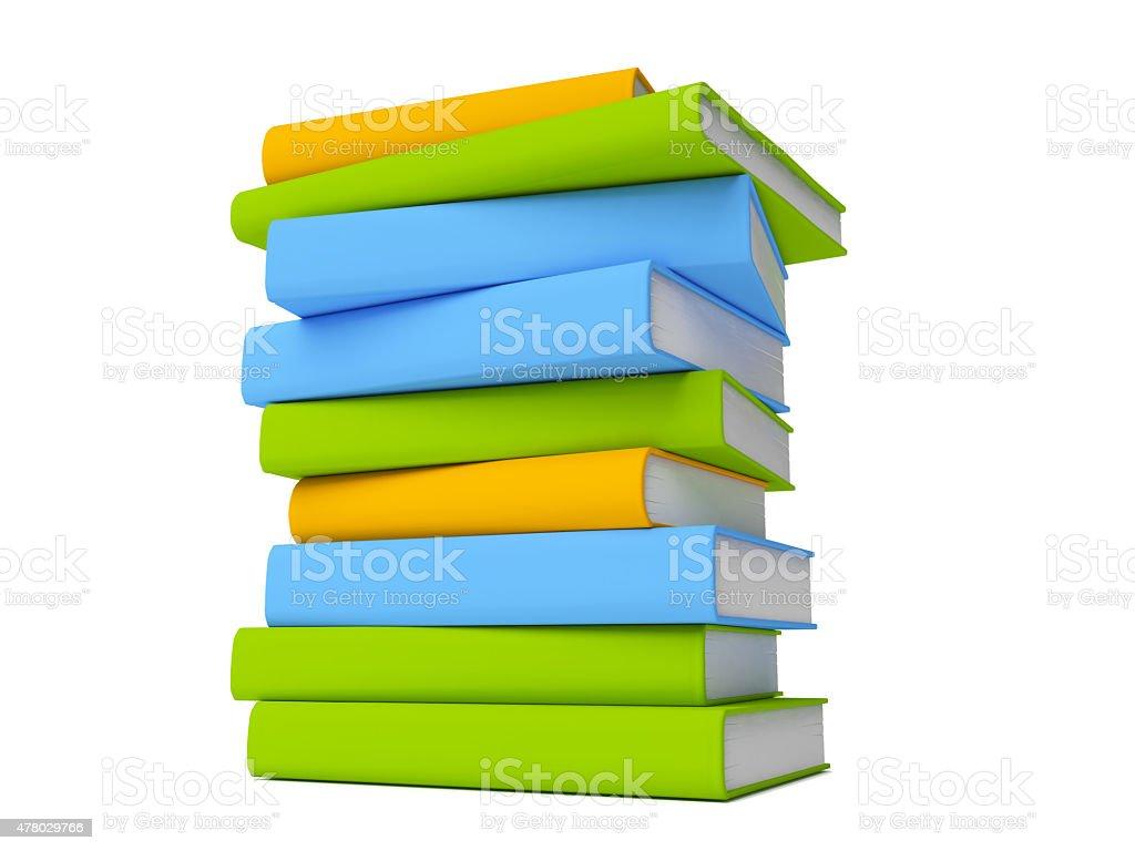 Rangée de livres colorés isolé sur blanc stock vecteur libres de droits libre de droits