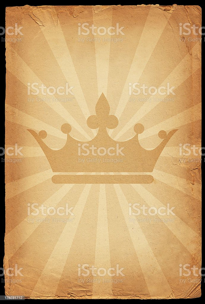Royal crown on old paper Background royalty-free stock vector art
