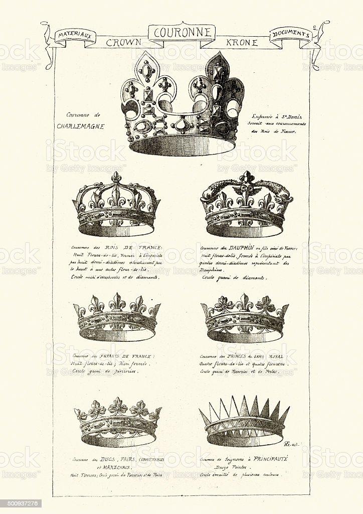 Royal Crowns vector art illustration