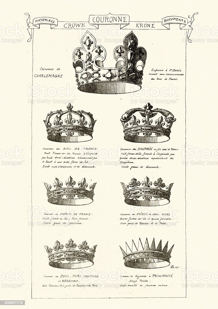 Royal Crowns vector art illustration