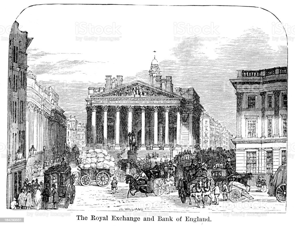 Royal Exchange and Bank of England vector art illustration