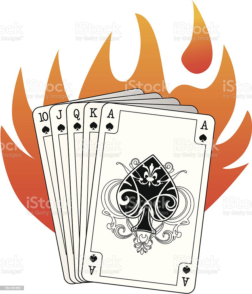 royal flush in spades with flames royalty-free stock vector art
