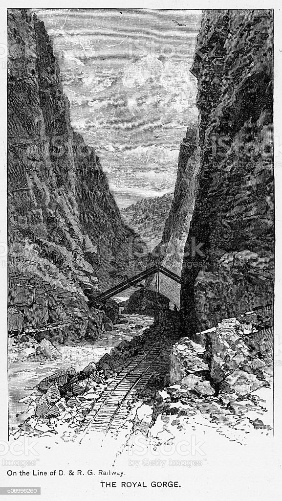 Royal Gorge of the Arkansas River Victorian Engraving stock photo