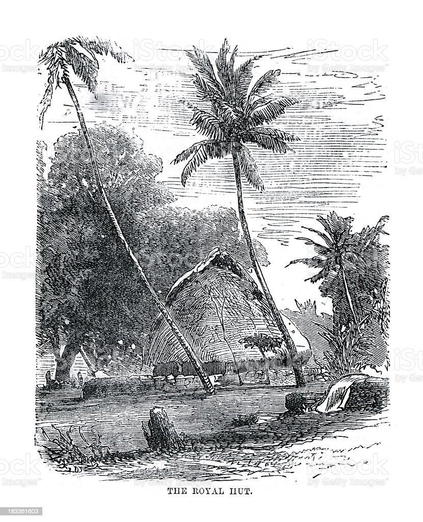 Royal Hut Fiji royalty-free stock vector art