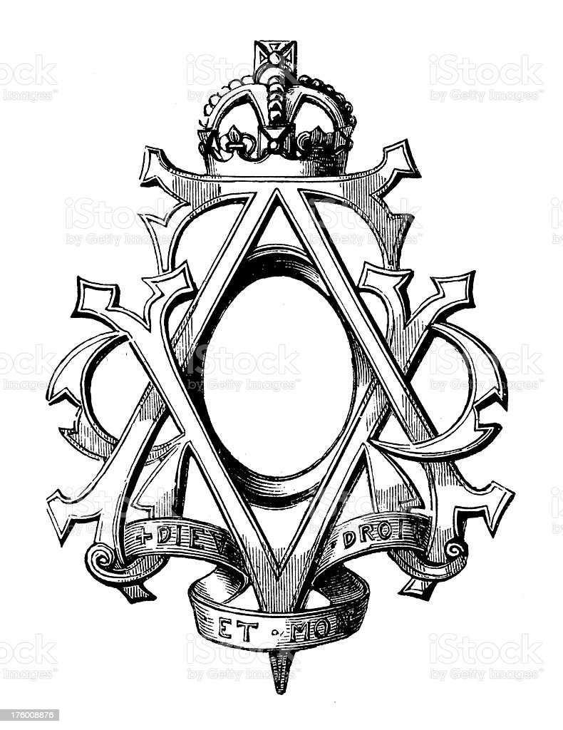 Royal Monogramme of Queen Victoria | Antique Design Illustrations royalty-free stock vector art