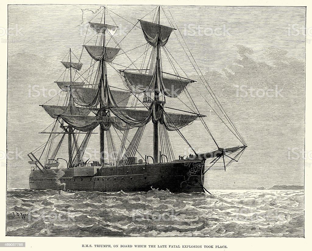 Royal Navy Warship HMS Triumph (1870) vector art illustration