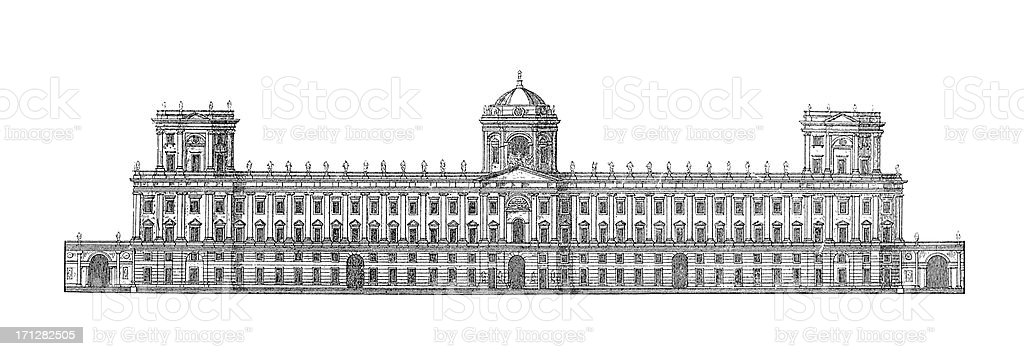 Royal Palace of Caserta, Italy | Antique Architectural Illustrations vector art illustration