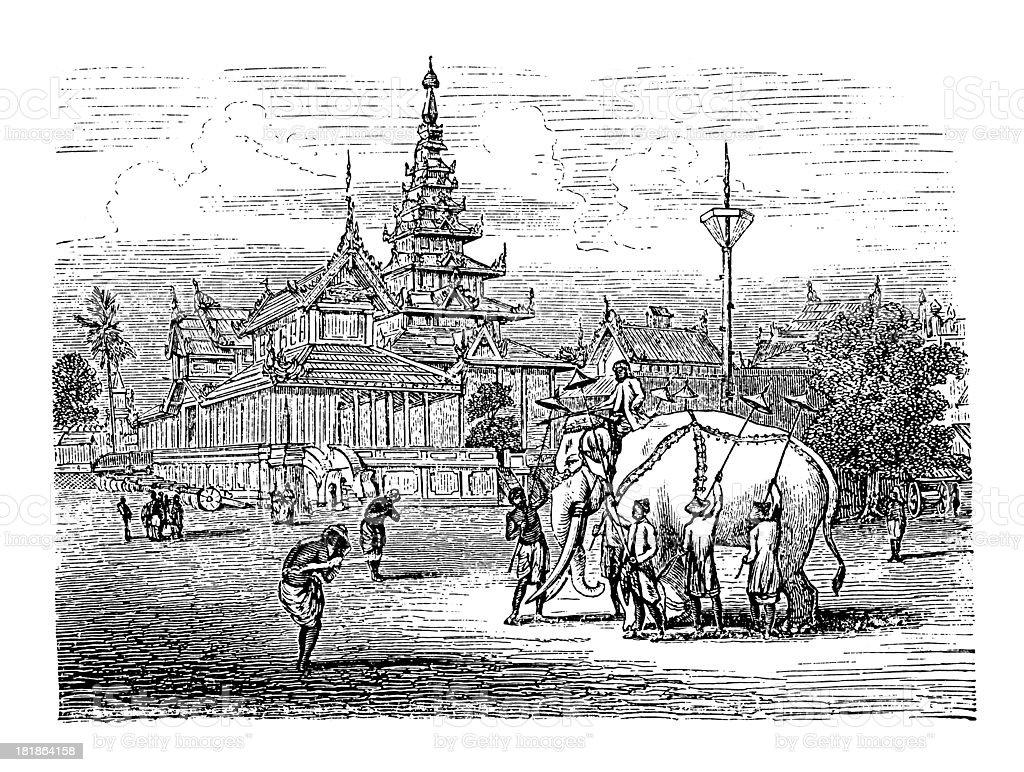 Royal palace of King Bodawpaya at Amarapura, Burma royalty-free stock vector art