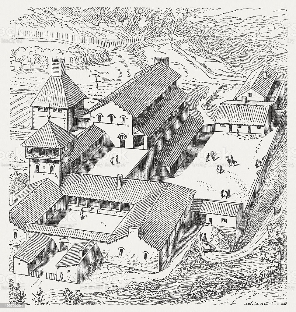 Royal residence of the Merovingian, published in 1881 vector art illustration