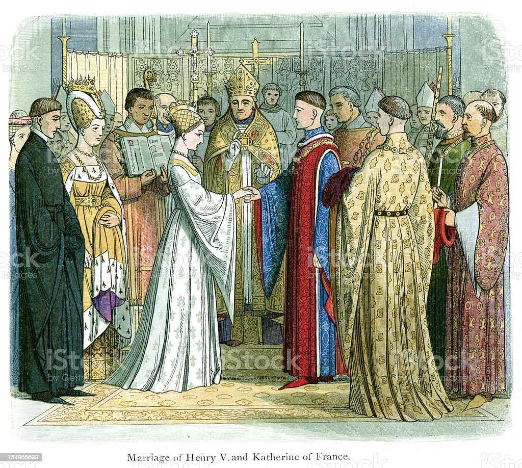 Royal Wedding of King Henry V vector art illustration