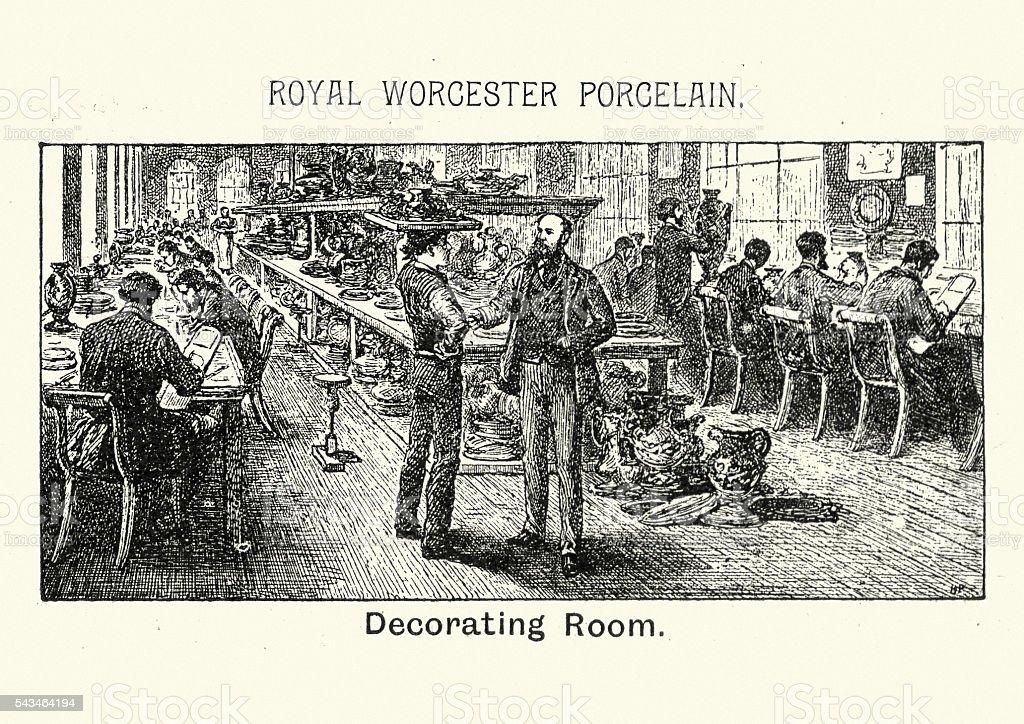 Royal Worcester Porcelain - Decorating Room vector art illustration