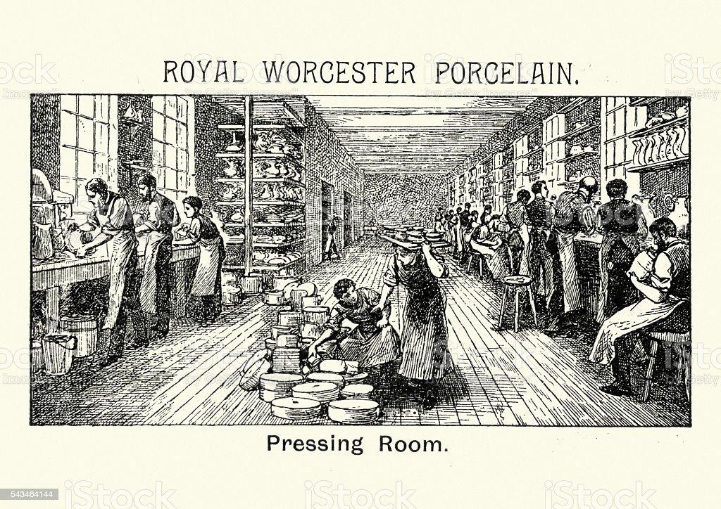 Royal Worcester Porcelain - Pressing Room vector art illustration