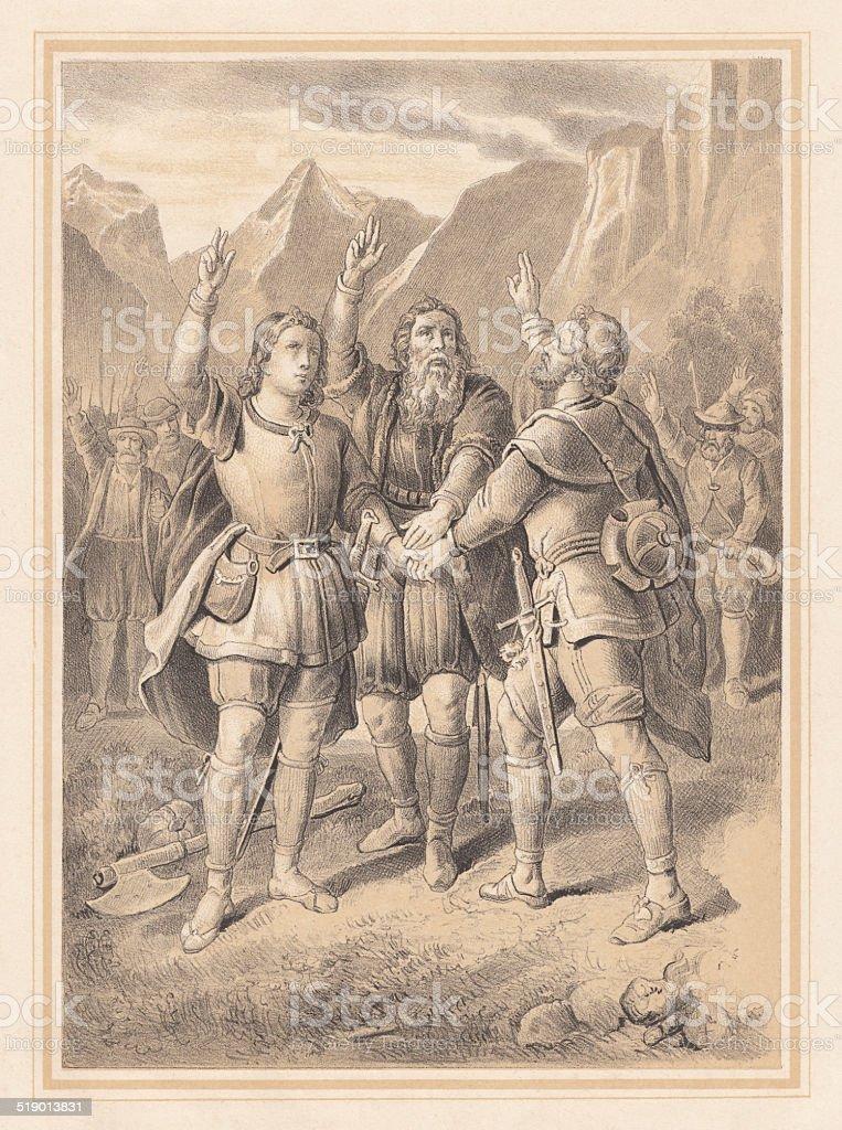 Rütlischwur, Swiss National Myth, lithograph, published in 1865 vector art illustration