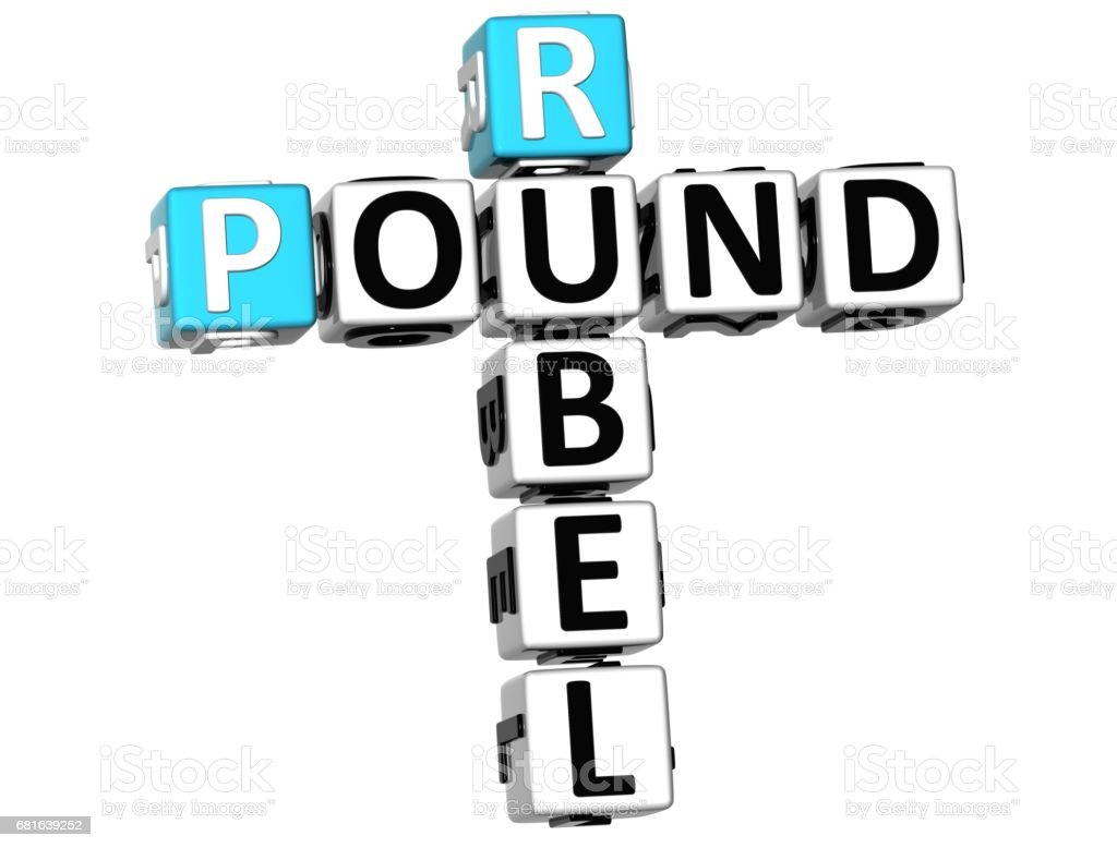 3D Rubel Pound Crossword vector art illustration