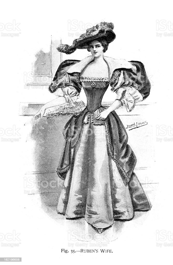Ruben's wife costume vector art illustration