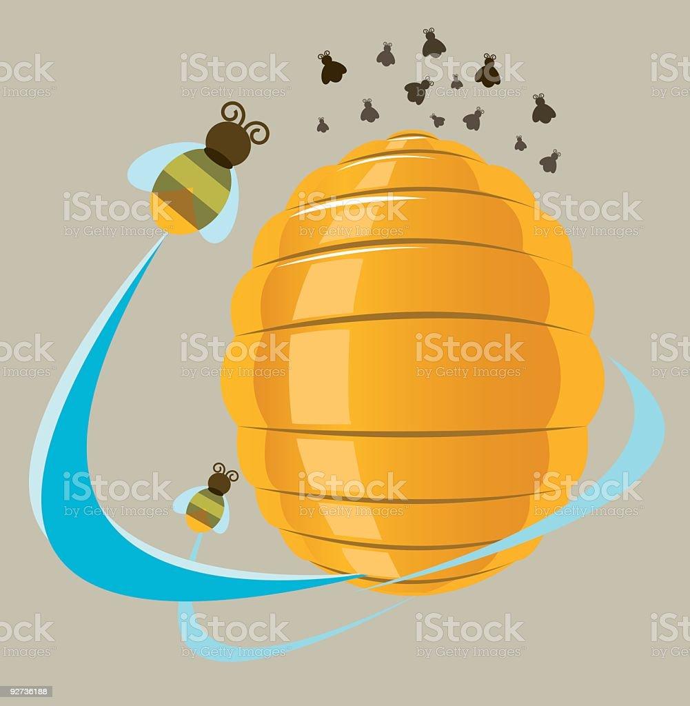 ruche et abeilles royalty-free stock vector art