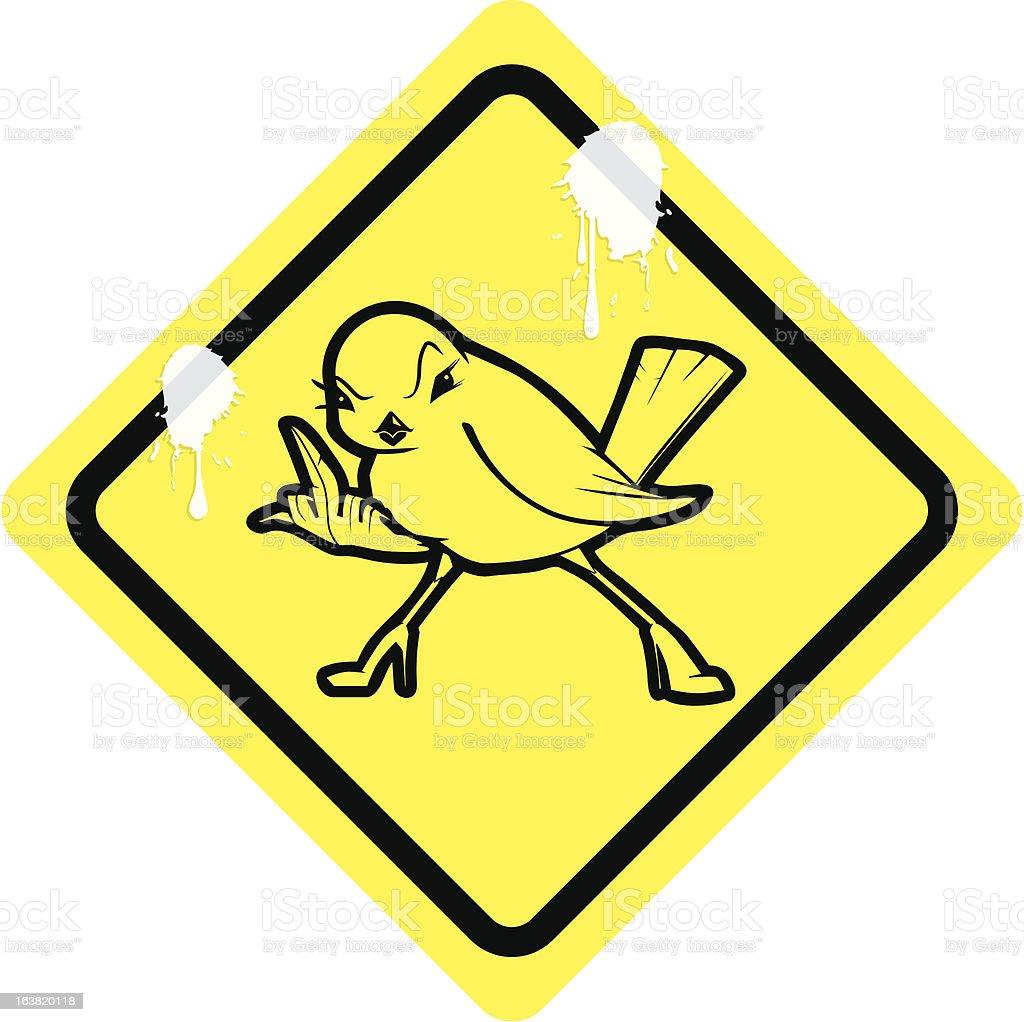 rude chick ahead vector art illustration