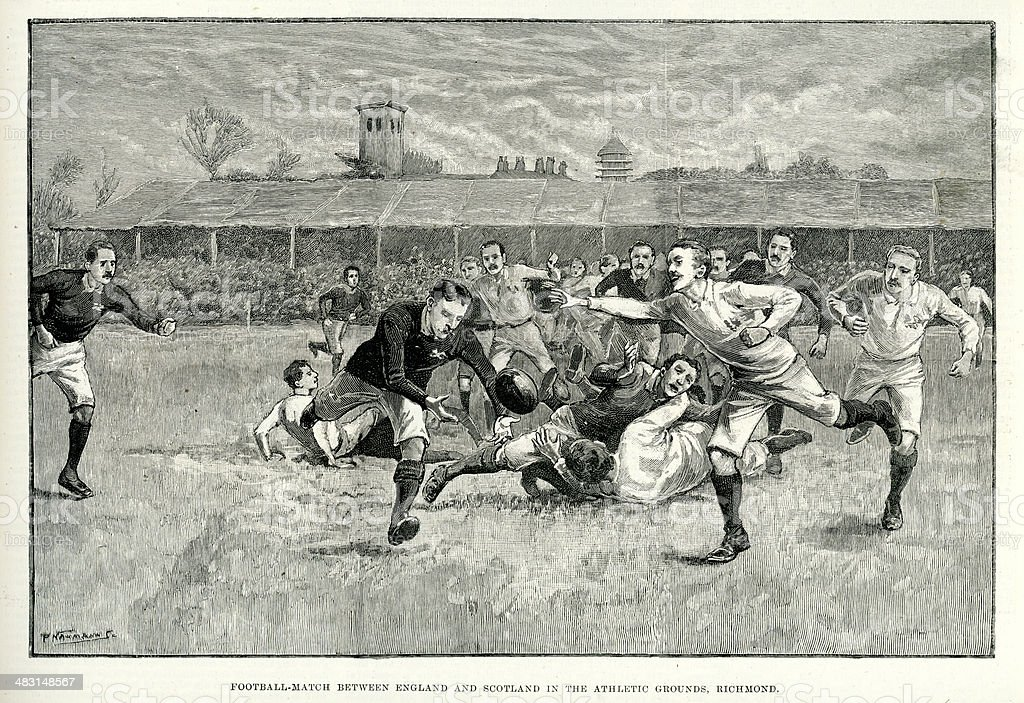 Rugby Match between England and Scotland vector art illustration