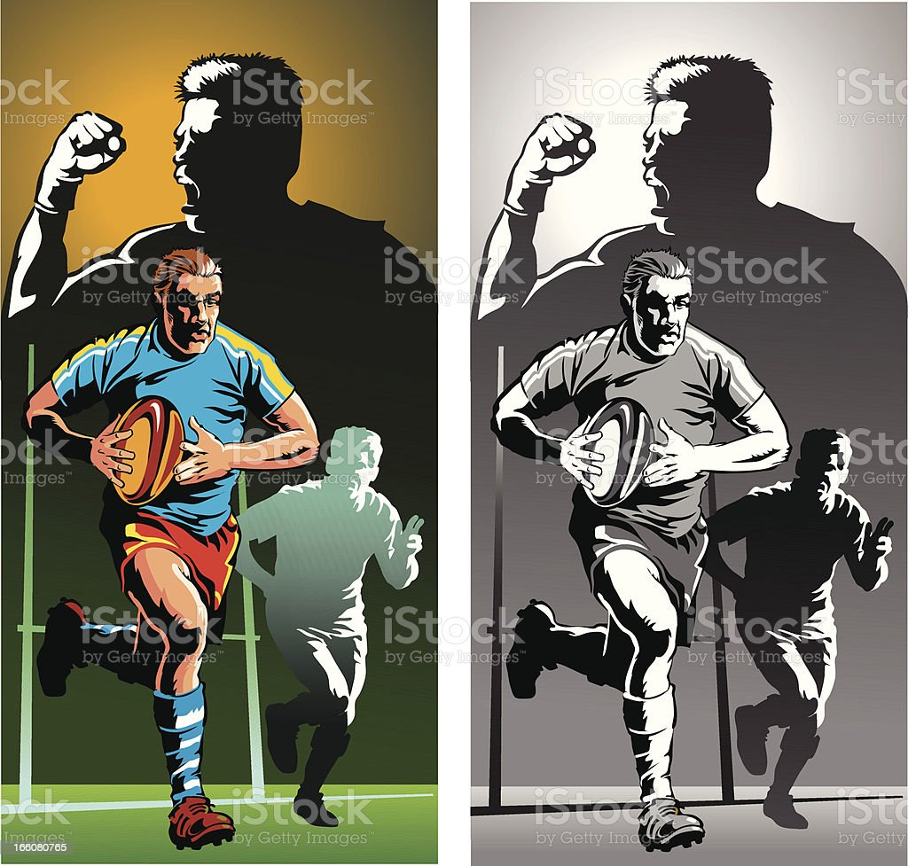 Rugby Player in Action - Color and Monochrome royalty-free stock vector art