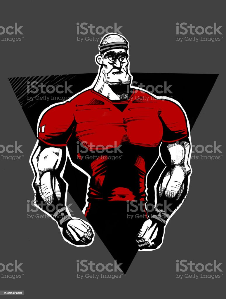 Rugby Player Posing vector art illustration