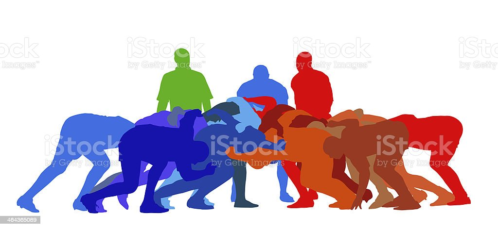 Rugby Scrum Isolation vector art illustration