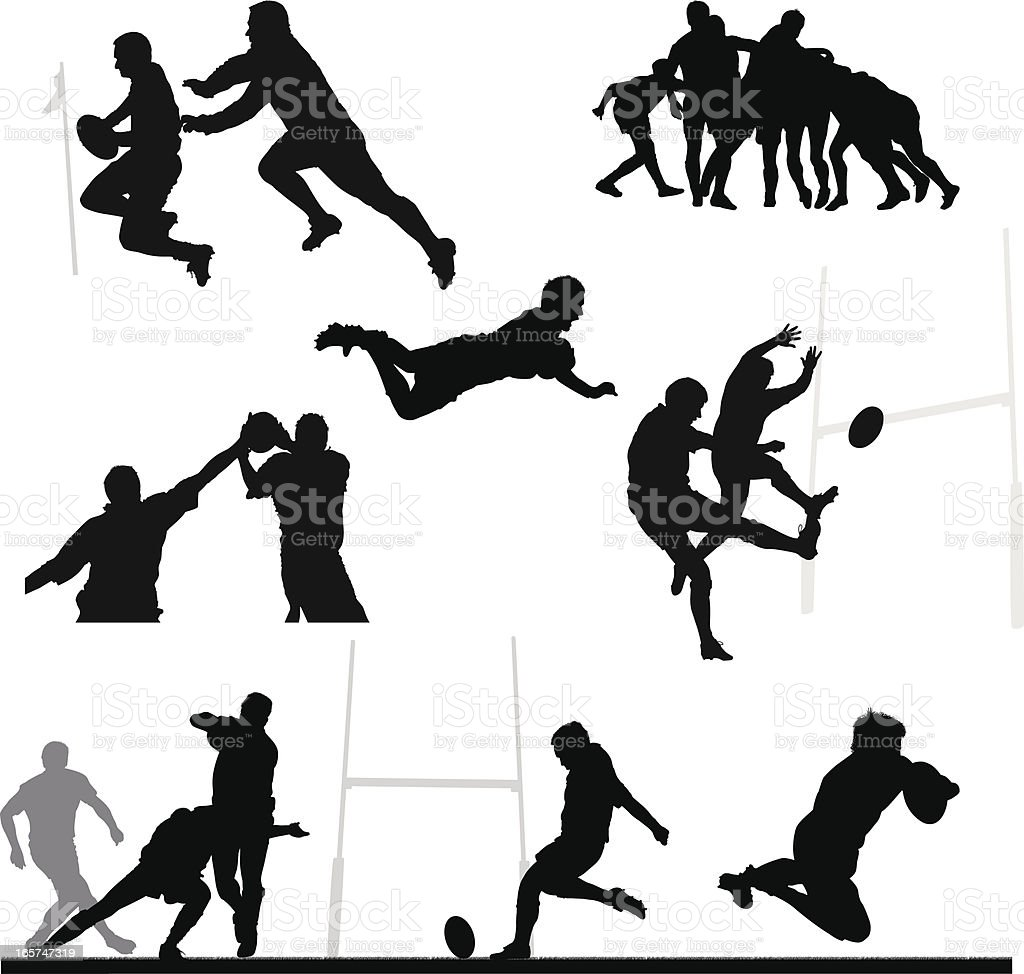 Rugby silhouette montage vector art illustration