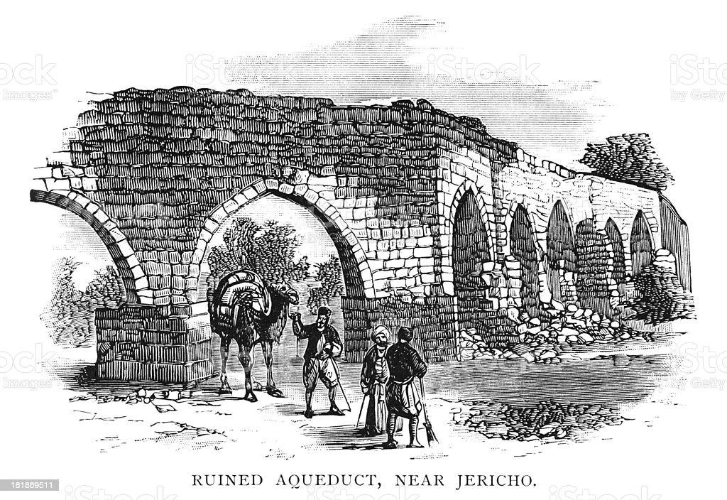 Ruined aqueduct near Jericho royalty-free stock vector art