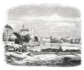 Ruined bridge St. Benezet in Avignon (antique engraving)