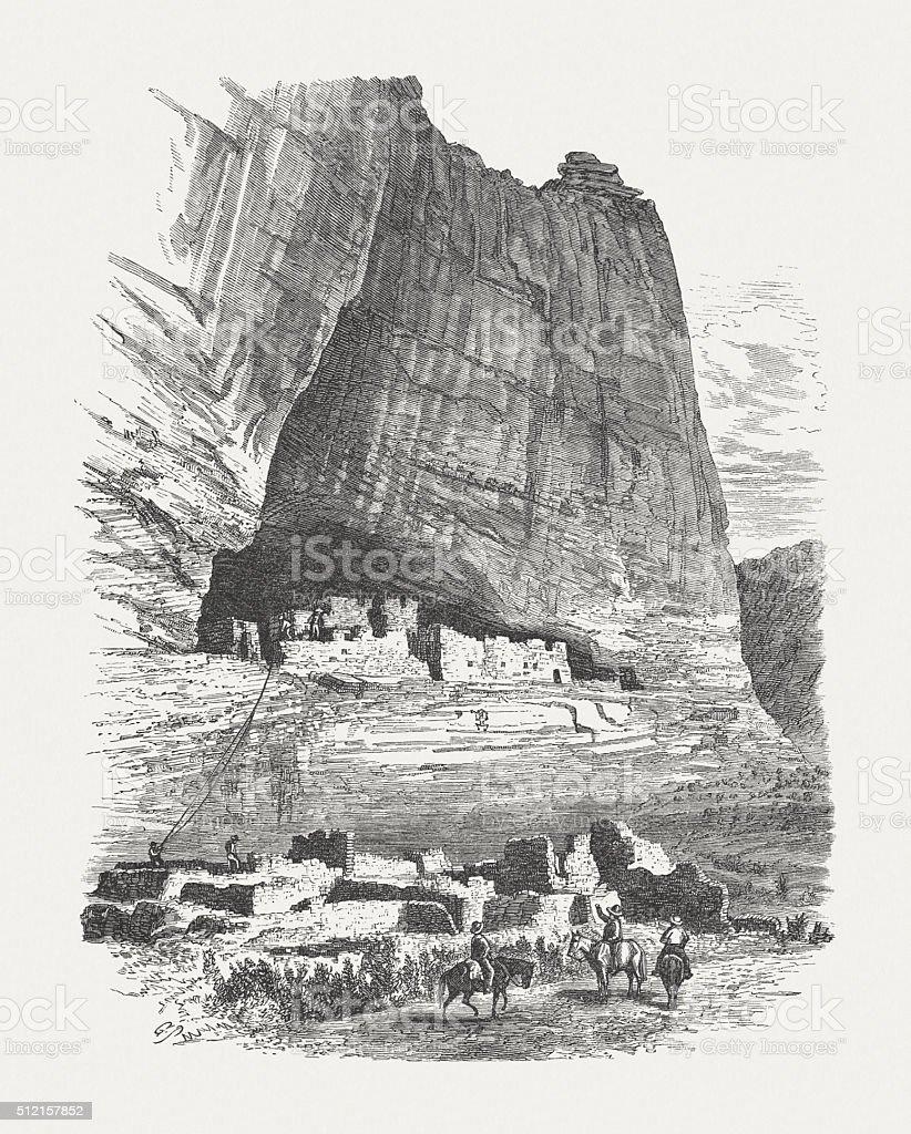Ruins of Anasazi people, Arizona, USA, wood engraving, published 1880 vector art illustration