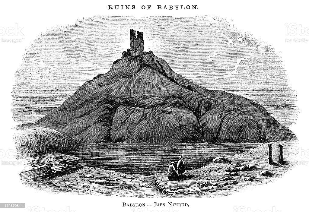Ruins of Babylon (Victorian woodcut) royalty-free stock vector art