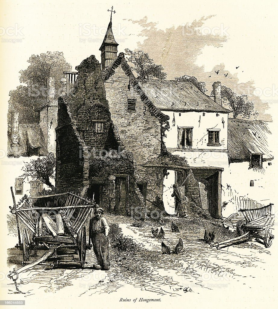 Ruins of Hougoumont, Belgium (antique wood engraving) royalty-free stock vector art
