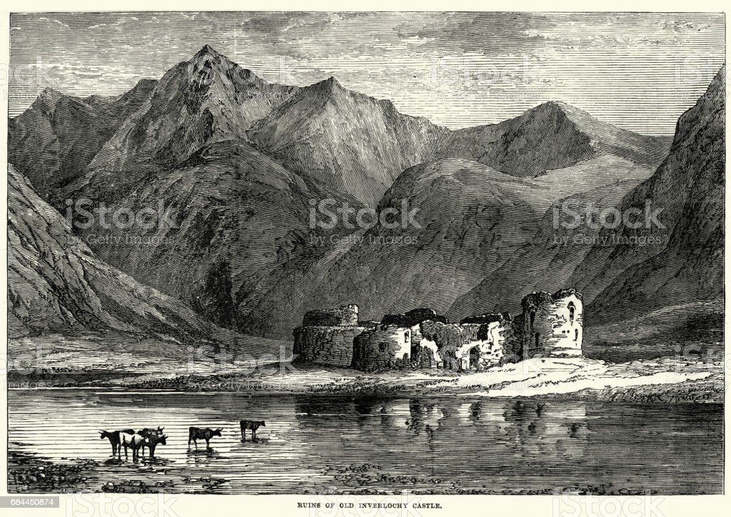 Ruins of Inverlochy Castle, Highland, Scotland vector art illustration