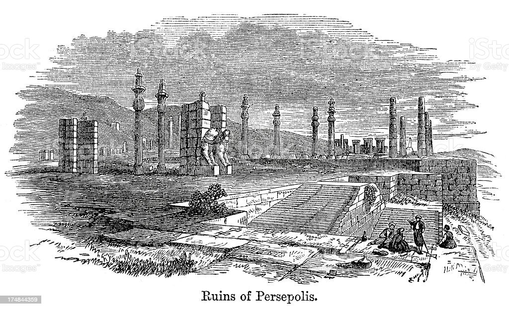 Ruins of Persepolis royalty-free stock vector art